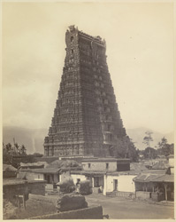 Streevelliputtur [Srivilliputtur]. The large pyramidal tower at entrance